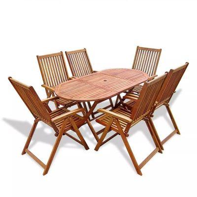 Haute qualité Mobilier de jardin 7 pcs avec table extensible Bois