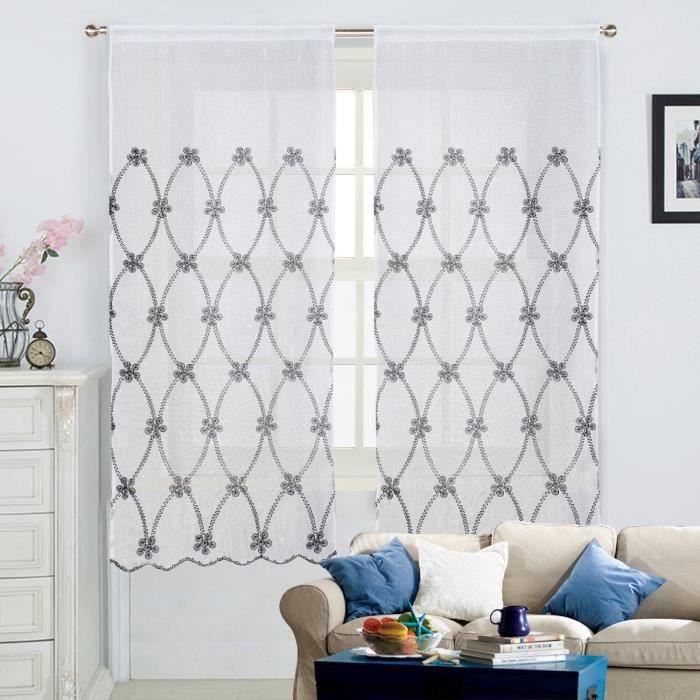 voilage macram grande largeur 260x300cm blanc noir. Black Bedroom Furniture Sets. Home Design Ideas