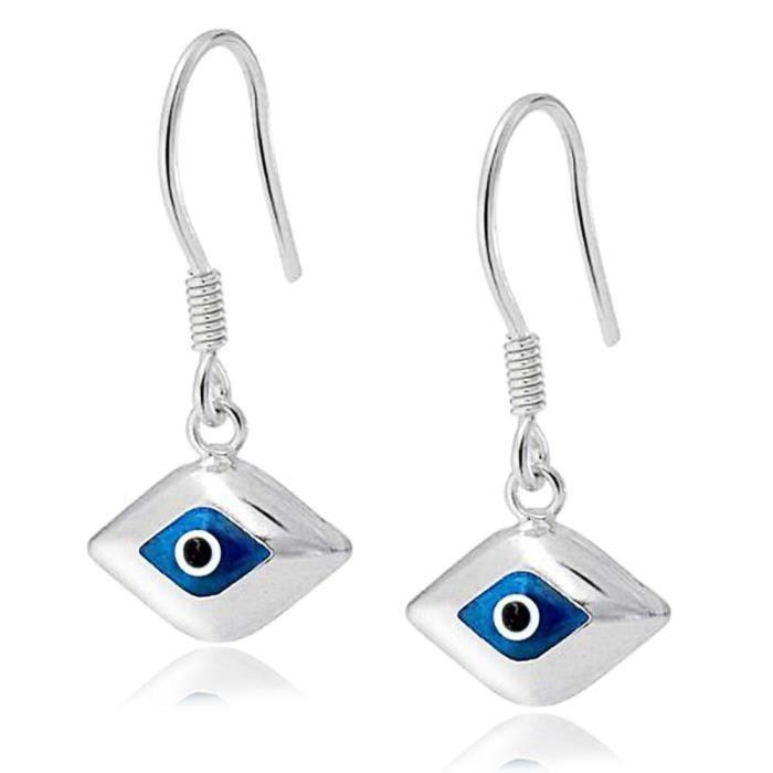 Bling Jewelry pendentif en argent mauvais Œil de verre bleu Drop Earrings