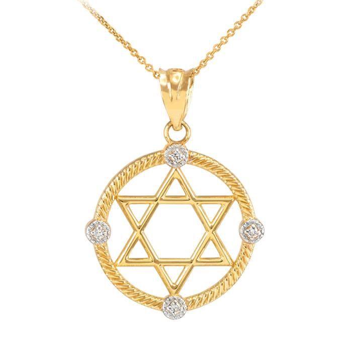 Collier Femme Pendentif 14 Ct Or Jaune Côtelé Cercle Étoile De David avec Diamant (Livré avec une 45cm Chaîne)