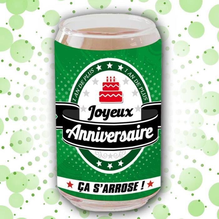 Verre Canette Joyeux Anniversaire Achat Vente Verre A Eau Soda