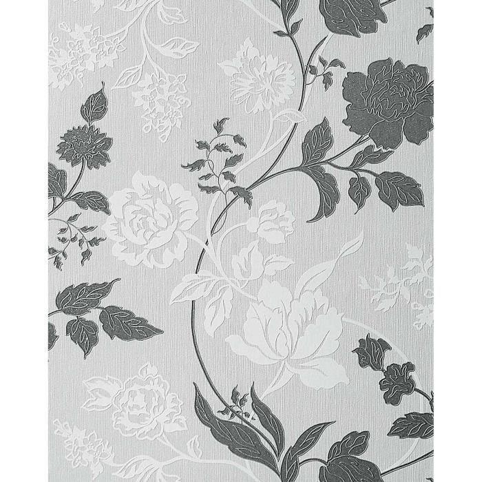 Papier Peint Design A Rayures Motif Floral Edem 116 26 Gris Clair
