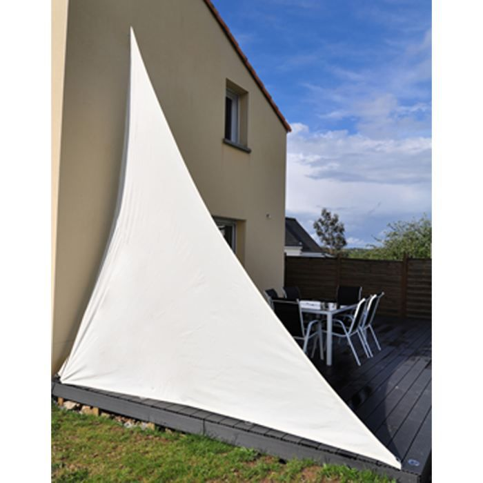 Toile solaire triangle blanc achat vente voile d 39 ombrage toile solaire cdiscount - Toile de protection jardin ...