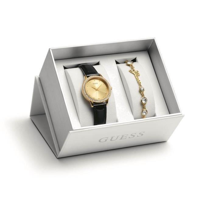 En Métal Coffret Et Ubs84300 Noir Cuir Guess Bracelet Montre S Chelsea PZuOXiTk