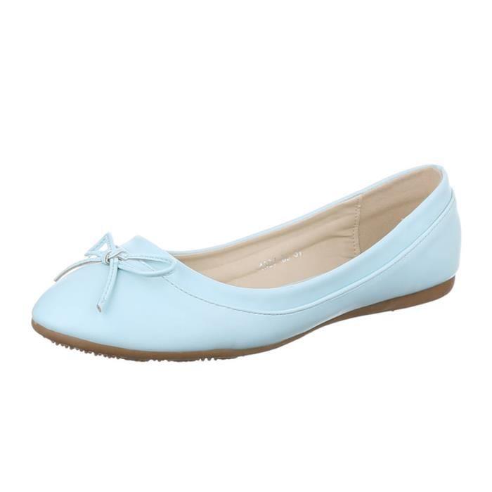Femme ballerines chaussure babouche Loafers soulier babouche bleu clair