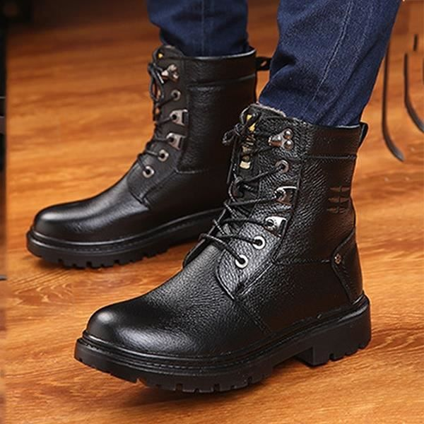 de Martin véritable des Bottes cheville hommes Vintage cowboy homme Bottes cuir fourrure chaussures de d'hiver pour Bottes qtXYwU