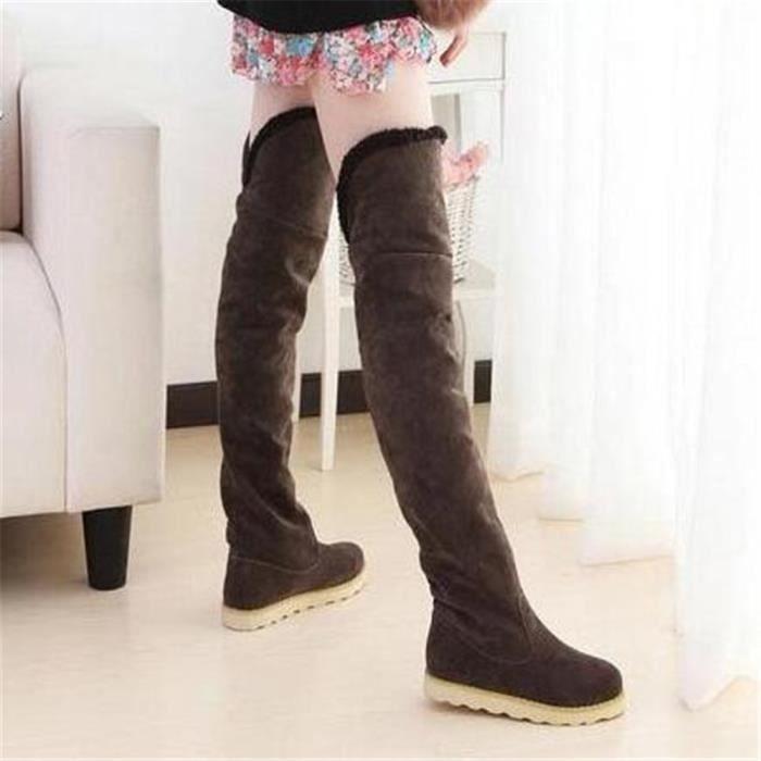 Bottes mode femme Soins de la peau d'hiver Plat Jambes Bottes Chaussures sexy,marron,39