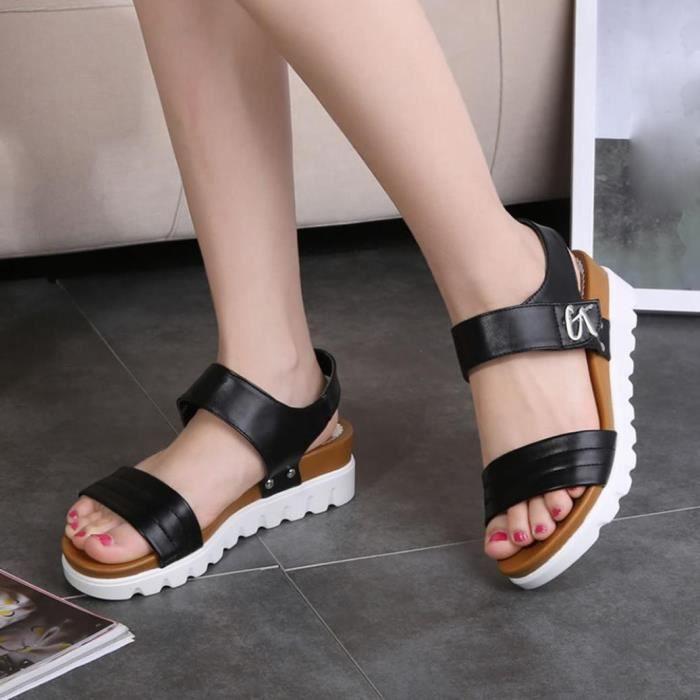 Les Femmes Âgées Black Chaussures Sandales Pour Plates D'été Confortables Dames Mode Yb7gyf6
