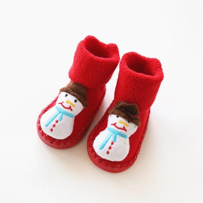 455377539b1db SHINA Chausson pour nouveau-nés bébé chaussette anti-dérapant de Noël pour  bébé