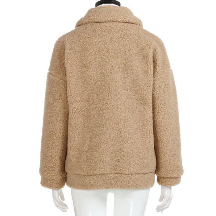 photos officielles 3aa0e ea961 femme dame fille mode manteau d'hiver chandail chaud laine Outwear Robe  Zipper Kaki