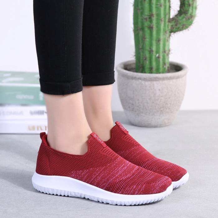Dames Casual Chaussures Rouge Mesh D'été Respirant Bout Mode Espadrille Rond Souple Bas q4rCq