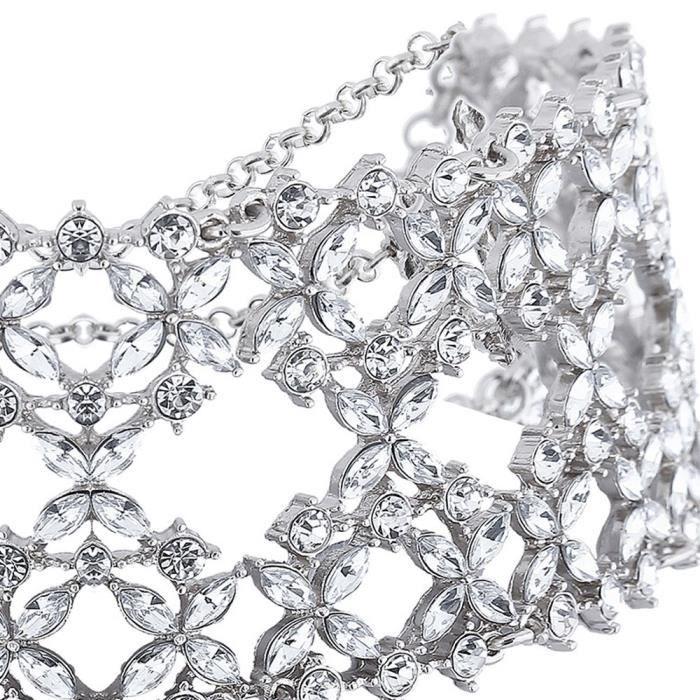 Femmes Trendsetter en cristal clair nuptiale de mariage Nuit Collier ras du cou pour N360 A7KLQ
