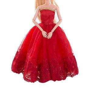 07c3183f0fc ACCESSOIRE POUPÉE Robe de mariée rouge pur Barbie Doll Soirée vêteme