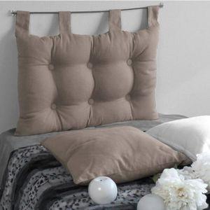 COUSSIN Coussin Tête de lit Uni à Pattes 45cmx70cm - Taupe