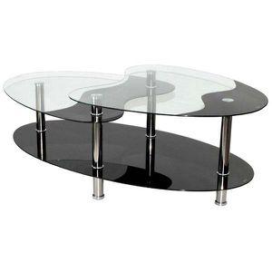 Table Basse Noire En Verre 3 Plateaux Achat Vente Table Basse
