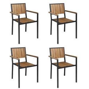 FAUTEUIL Lot de 4 fauteuils (H)assise 450mm - Acier / Acaci