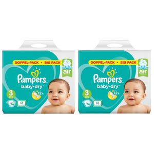 COUCHE  Pampers Baby Dry Taille 3 Midi 6-10kg 152 Couches