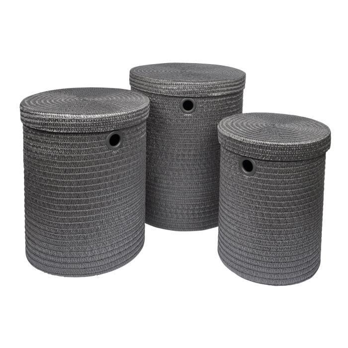 Lot de 3 paniers à linge 18x29x45 cm Anthracite