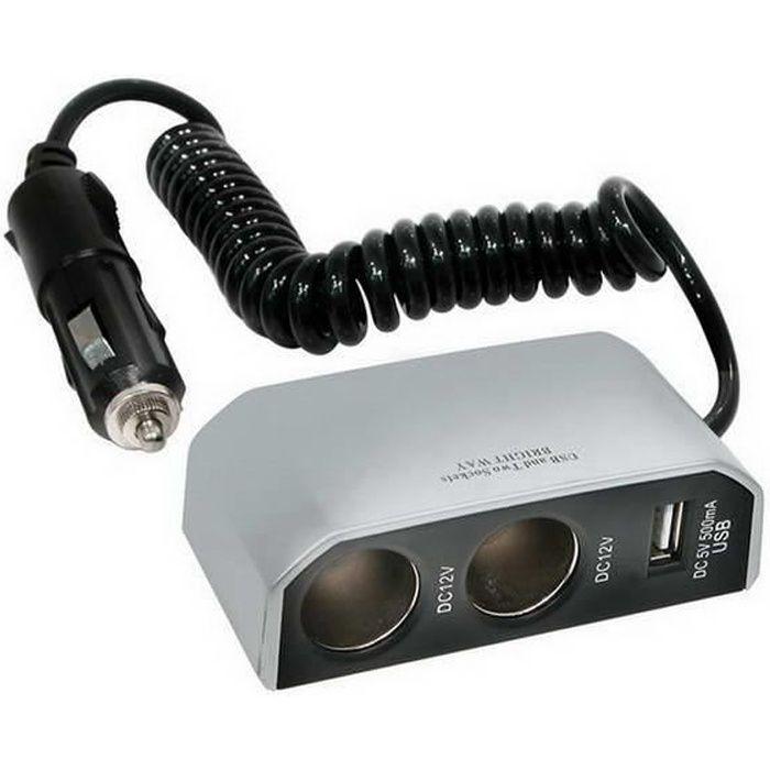 CARPONIT Prise allume-cigare Double avec un port USB - 8Ah 12 V - Gris