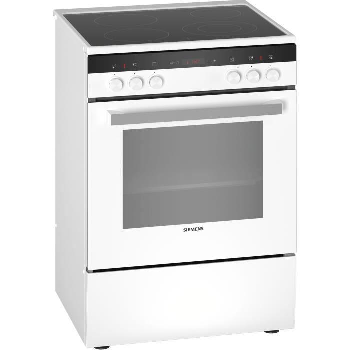 SIEMENS HK9R4R120 - Cuisinière électrique - 4 foyers Quick - Four multifonction - Pyrolyse - 63 L - A - L 60 cm - Blanc