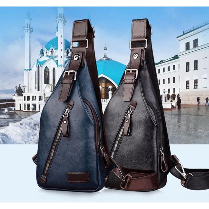 sac de voyage Les nouveaux hommes en cuir PU Sling Sac poitrine Cross Body épaule pack-769