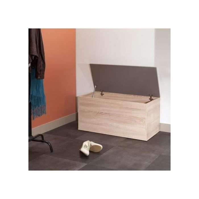 banc coffre a chaussures chene taupe achat vente. Black Bedroom Furniture Sets. Home Design Ideas