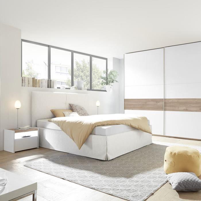 Chambre moderne blanche et couleur noyer NERINA lit 160 cm Gris L 190 x P  220 x H 125 cm