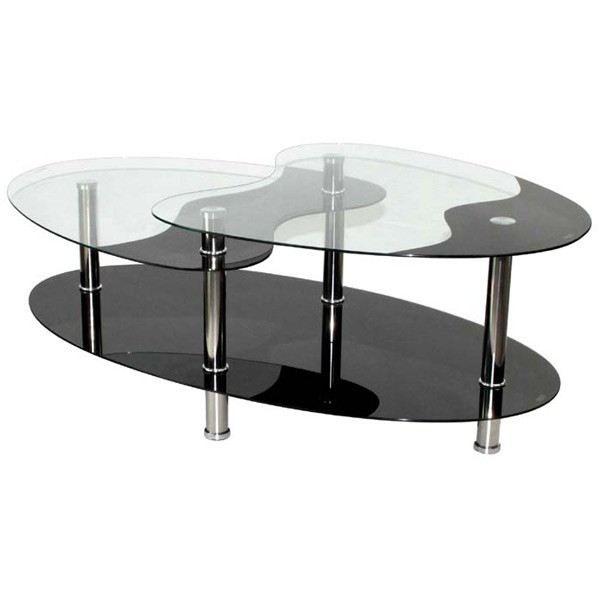 table basse noire en verre - 3 plateaux - achat / vente table