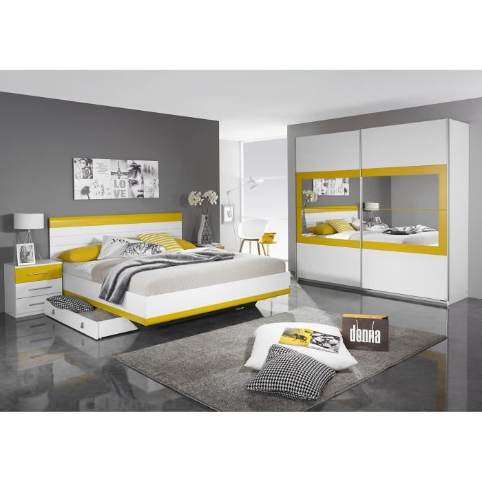 Chambre adulte design coloris blanc-jaune Genaro-180 x 200 cm ...