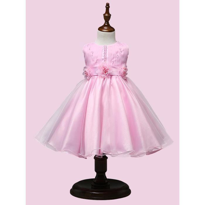 692cb990a97 Princesse Fille 2 à 8 Ans Robe Rose Elégante de Fête Pour le Mariage  Cérémonie