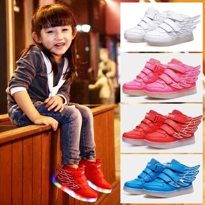 USB Luminous chaussures ailes décor LED Flash Sneakers pour les enfants