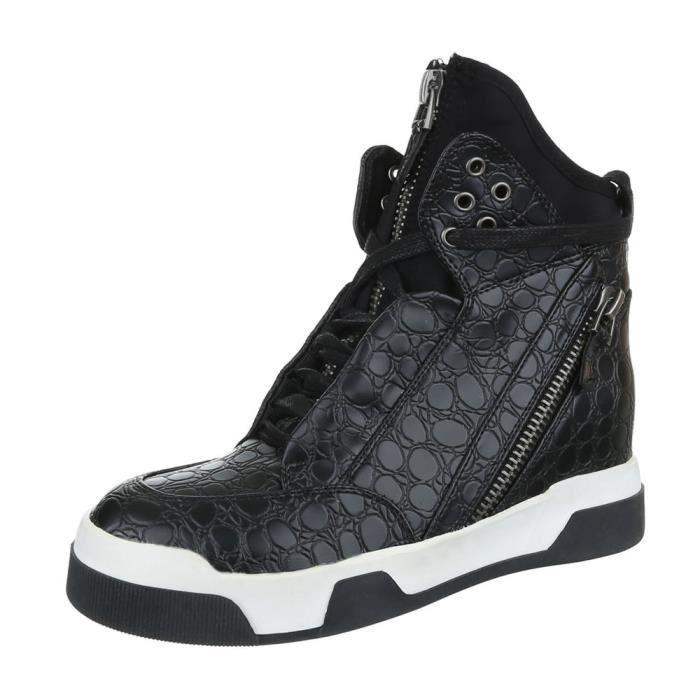 femme chaussures décontractées chaussure coureur chaussure de sportBaskets botte noir