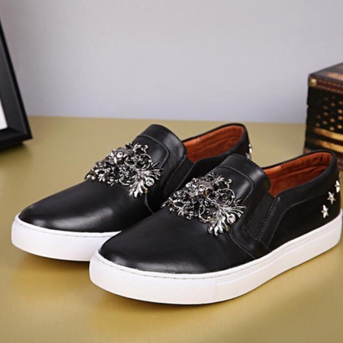 chaussures bateau de la marée personnalité hommes Espadrilles marque Styliste style britannique mocassins en cuir véritable