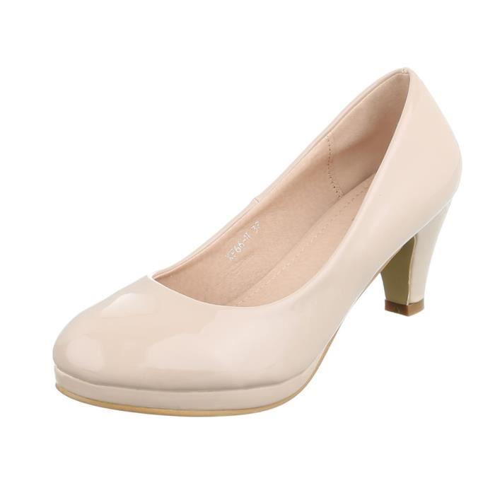 Rouge Femme 38 Plateau Chaussures Escarpin beige Beige noir XwwRqSWHn