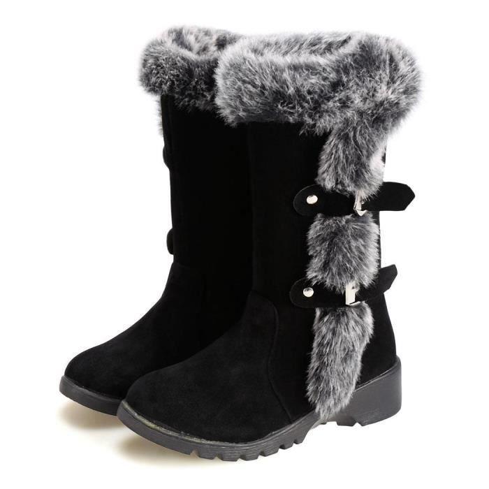 Femmes Bottes de neige Casual épaissir fausse fourrure hiver chaud