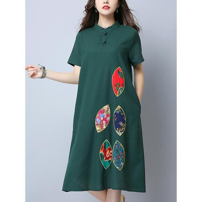 robe des femmes col debout bloc de couleur imprimé floral robe midi