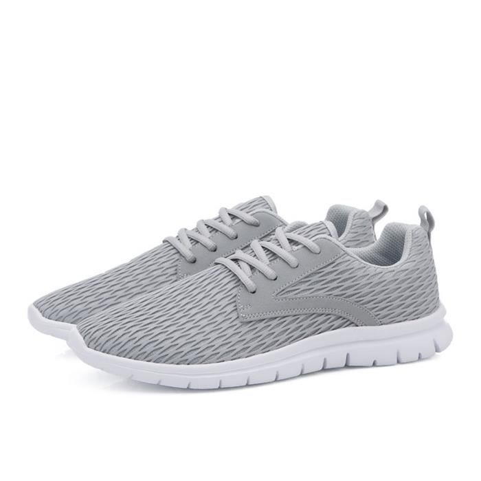 Basket Hommes RéSistantes à L'Usure Chaussures Pour Hommes Sneakers perméable à l'air Chaussures de course Plus Taille 38-46,gris,38