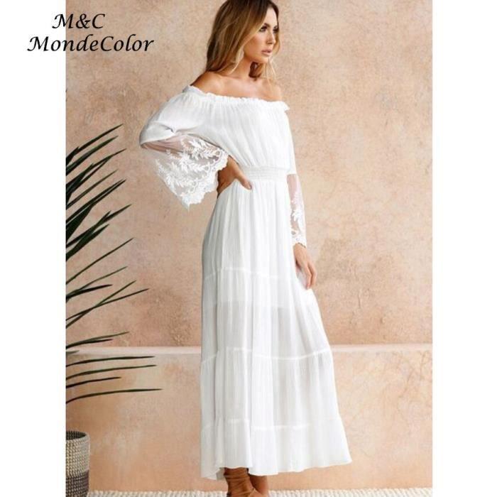 Europe Style Slash Neck Sexy Robe Longue Femme Blanc Couleur Unie Dentelle Manches Trompette Robe de Plage Mode Robe dété