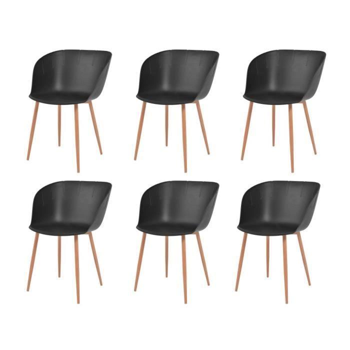À 6 Contemporain Chaises Scandinave Acier Et Salle Manger De Lot Style Chaise Pcs Noir Plastique Cuisine TlFKJc3u1