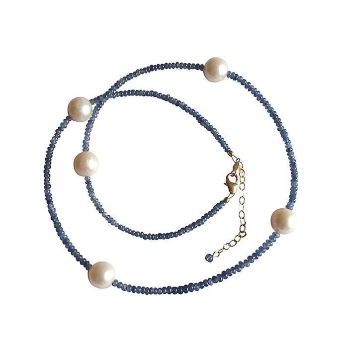 Gemshine - Femmes - Collier - Or - Saphir - Bleu - Perle - Blanc - 45 cm