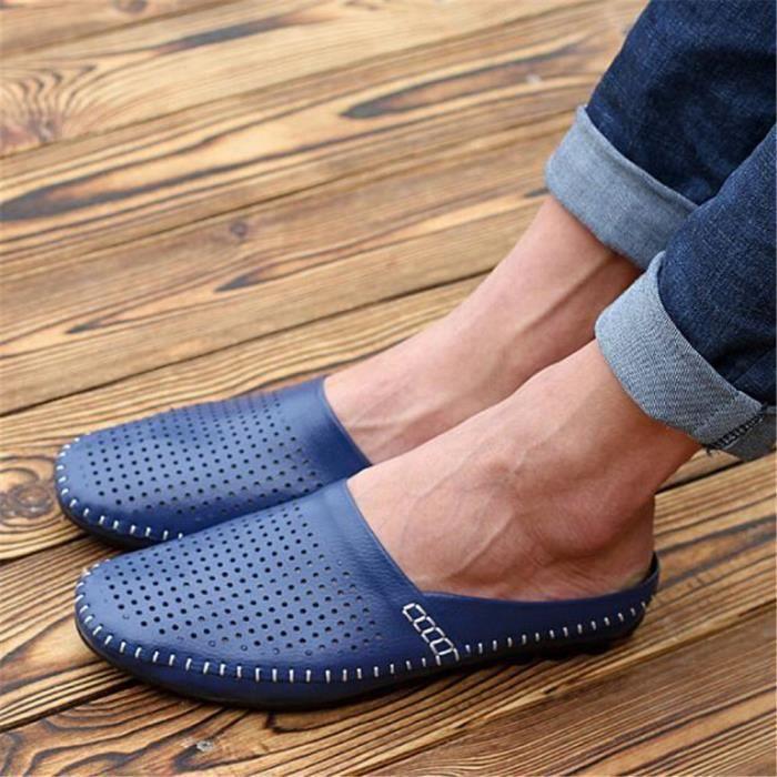 chaussures homme Pantoufle Marque De Luxe Moccasin hommes Grande Taille Loafer En Cuir Nouvelle Mode 2017 ete chaussure Super