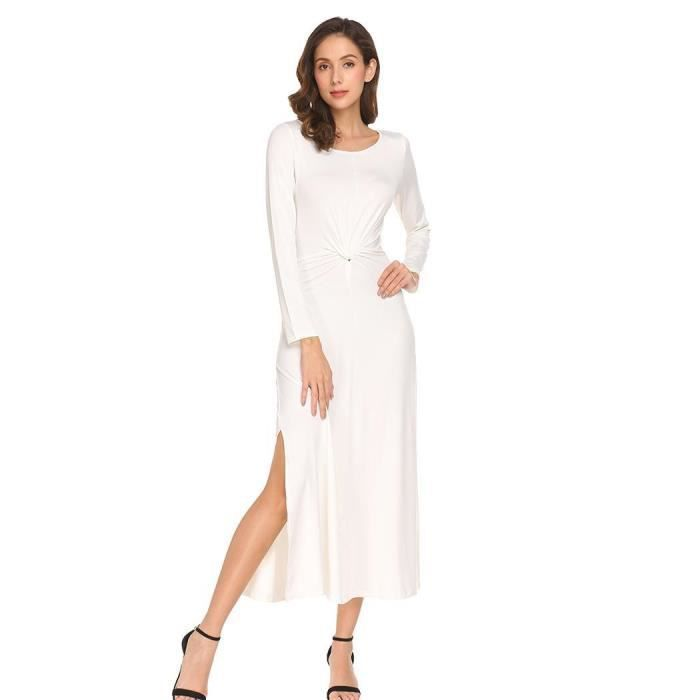 Robe Femmes Casual O cou à manches longues solide Split Hem Sexy