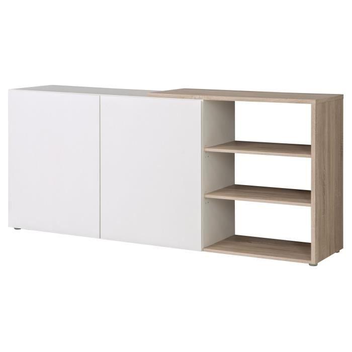 FINLANDEK Buffet bas TOOTING - Contemporain - Blanc mat et décor chêne sonoma structuré 3D - L 194,5