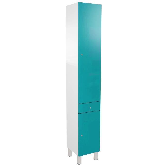 CORAIL Colonne de salle de bain L 30 cm - Bleu lagon haute brillance