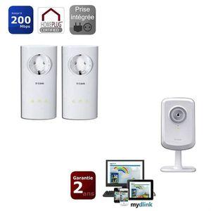 COURANT PORTEUR - CPL D-Link Kit de 2 CPL 200mbps + Caméra Wifi DCS 930L