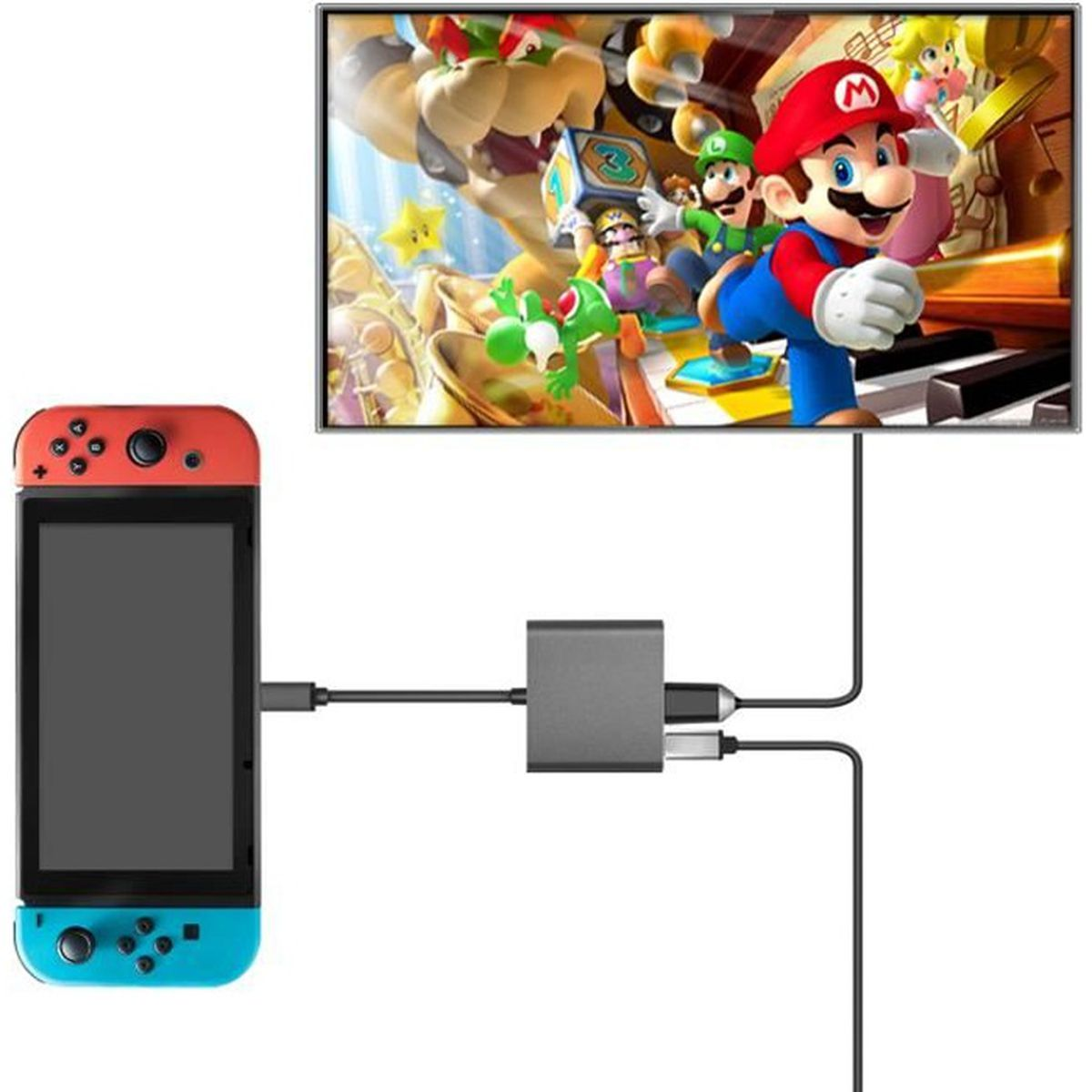 ADAPTATEUR MANETTE Adaptateur Type-C vers HDMI, Adaptateur USB 3-en-1