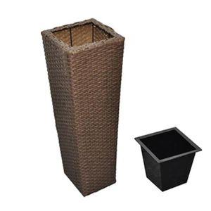 JARDINIÈRE - POT FLEUR  R54 3 cache-pots en resine tressee et 3 bacs inter