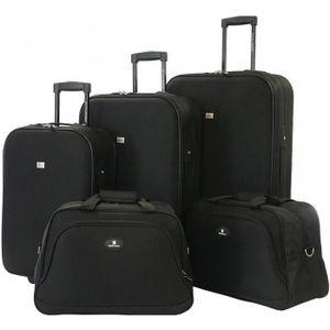 SET DE VALISES Lot de 5 bagages Souples David Jones NOIR - BA4010