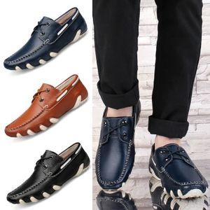 Mocassins en cuir véritable Chaussures Hommes Chaussures Flats Hombre Noir Hommes de Oxfords,noir,8.5,2876_2876