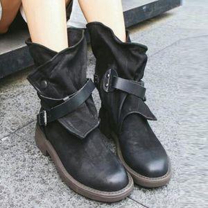 BOTTE (Noir)Bottes militaires femmes boucle chaussures e